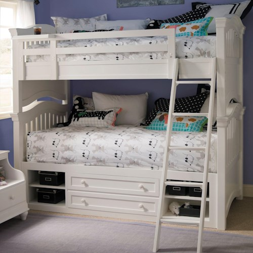 Smartstuff Classics 4.0 Twin Over Twin Bunk Bed & Storage Unit with Side Rails