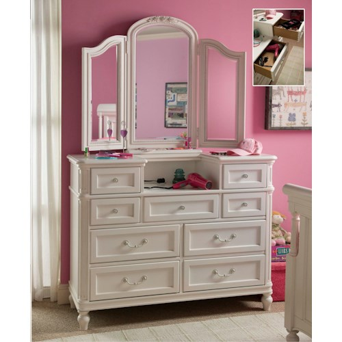 Smartstuff Gabriella Nine-Drawer Dressing Chest with Charging Station & Hidden Storage with Tri-View Dressing Chest Mirror Combination