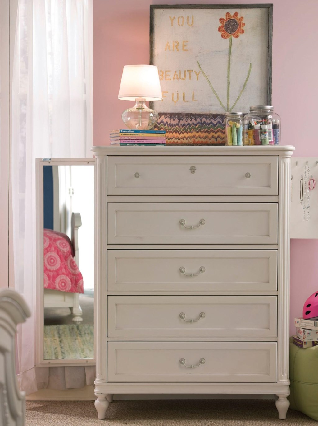 Greenville Five Drawer Chest With Full Length Mirror Hidden