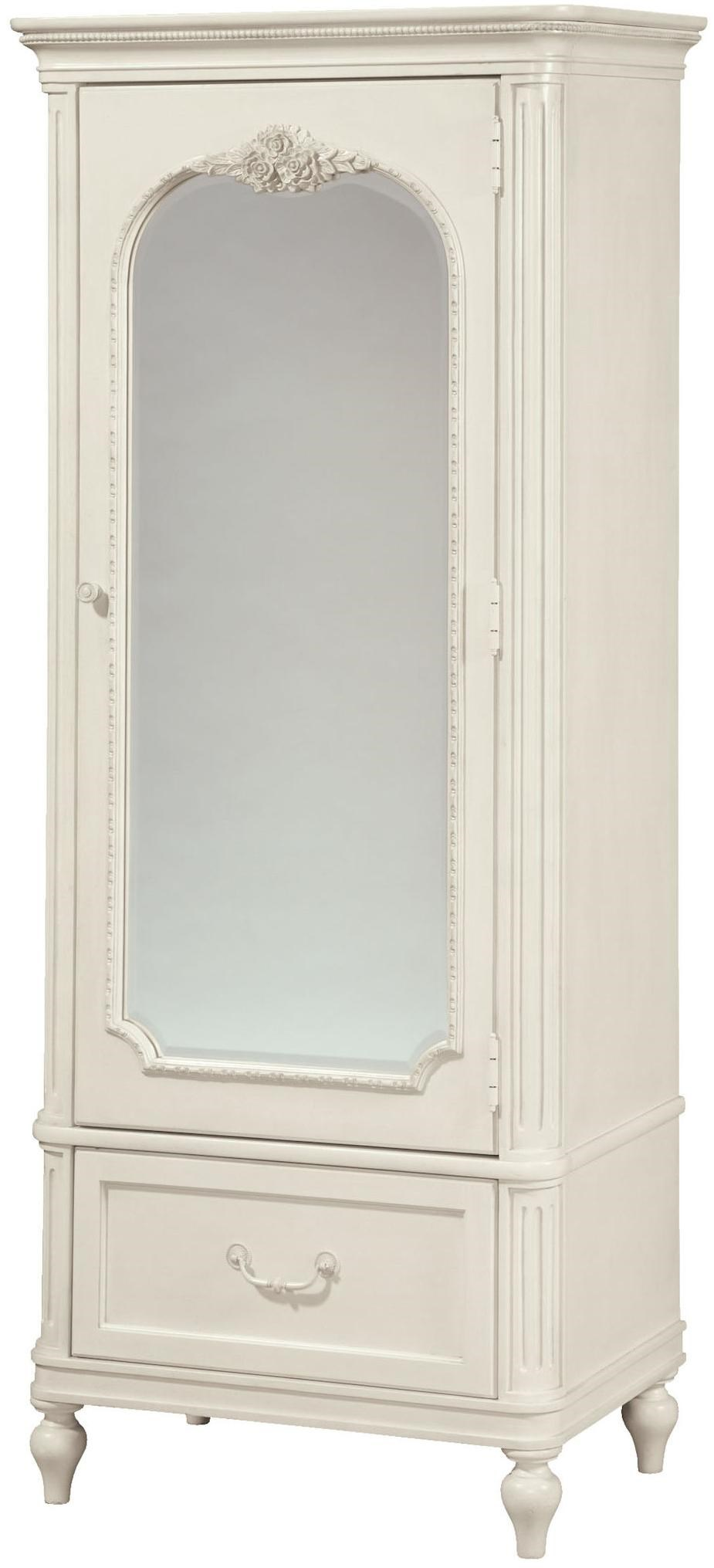 Smartstuff Gabriella Mirrored One-Door Armoire with Cork Board \u0026 Variety of Storage Spaces