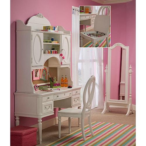 Smartstuff Gabriella Four-Drawer Vanity Desk & Two-Door Hutch with Dimmer Light & Cork Back