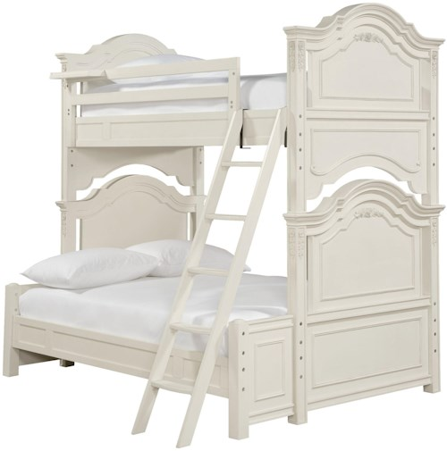 Smartstuff Gabriella Twin Over Full Bunk Bed with Floating Clock Shelf & Shapely Molding Details