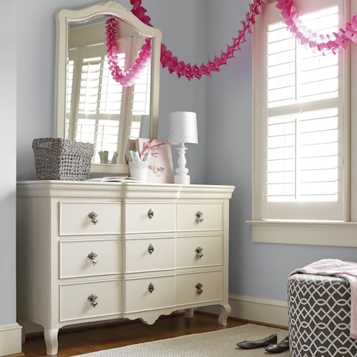Smartstuff Genevieve Dresser and Vertical Mirror with 5 Drawers