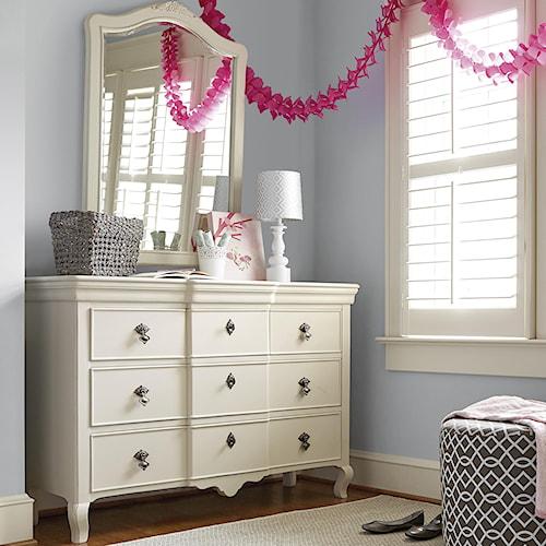 Smartstuff Genevieve Dresser and Vertical Mirror with 5 Drawers