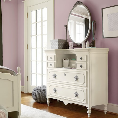 Smartstuff Genevieve Mademoiselle Chest and Mirror Set with Power Outlet