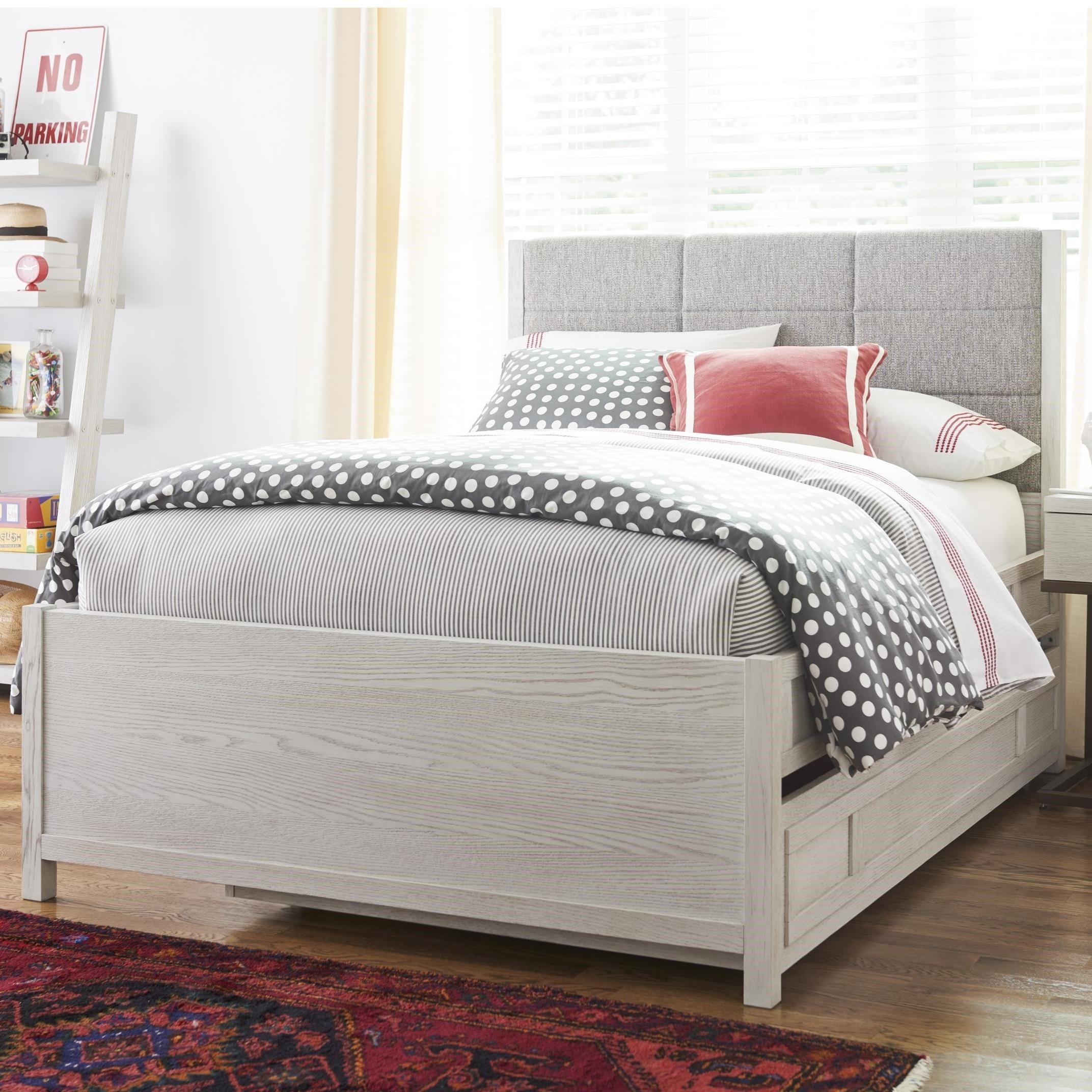 Picture of: Smartstuff Modern Spirit Contemporary Full Size Trundle Bed With Upholstered Headboard And Built In Reading Light Reeds Furniture Upholstered Beds