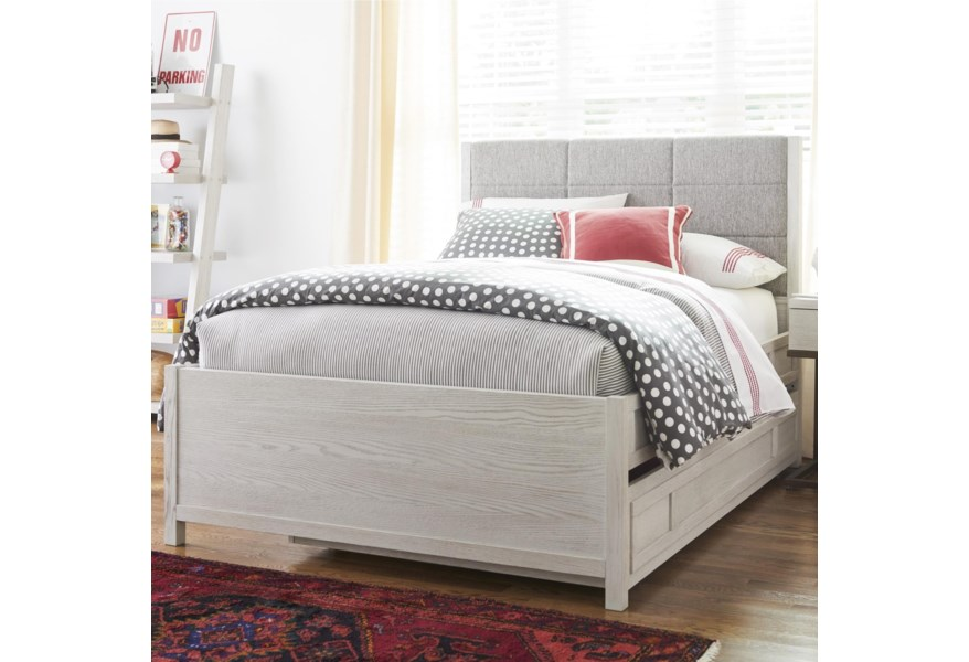 Universal Kids Smartstuff Modern Spirit Contemporary Full Size Trundle Bed With Upholstered Headboard And Built In Reading Light Becker Furniture Upholstered Beds