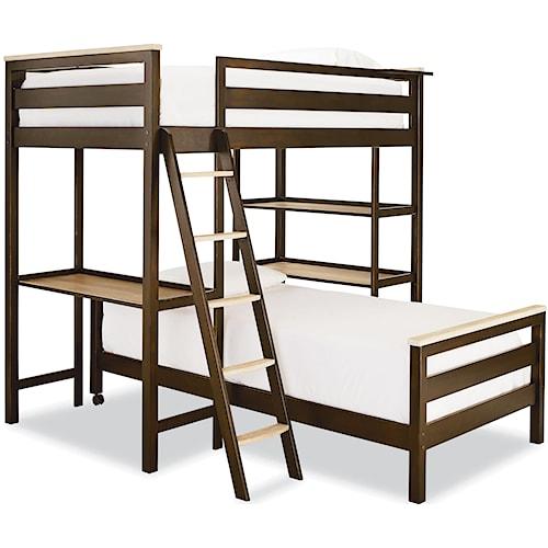 Smartstuff Myroom Twin Metal Loft Bunk Bed With 3 Shelves Sprintz