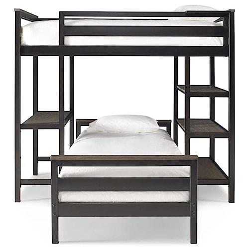 Smartstuff #myRoom Twin Metal Loft Bunk Bed with 3 Shelves