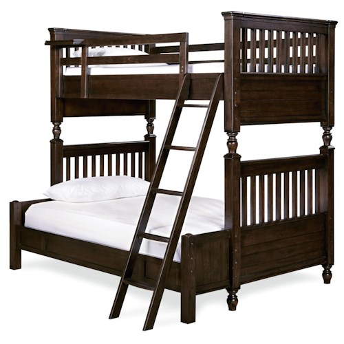 Smartstuff Paula Deen - Guys Twin/Full Bunk Bed with Rail Post Design