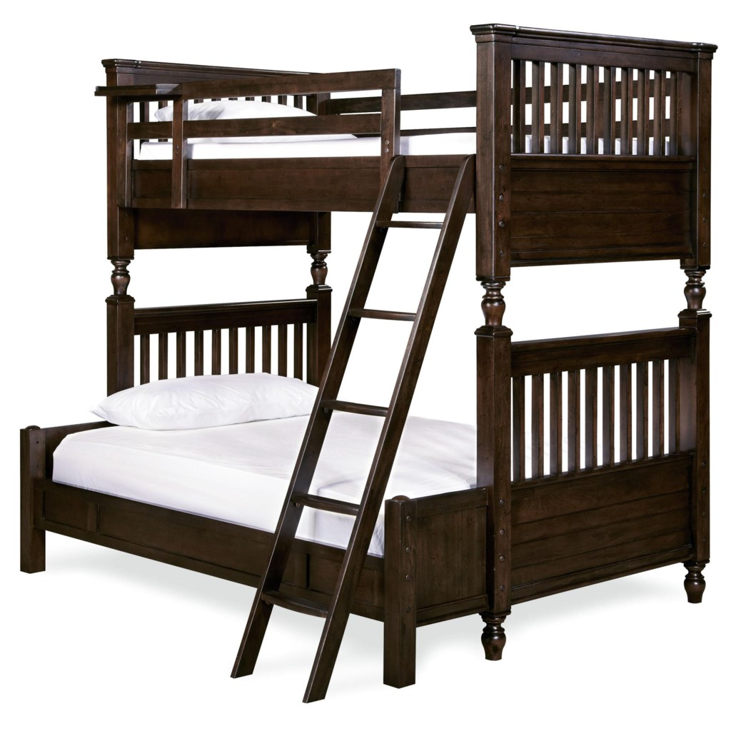 Pine Valley Twin Full Bunk Bed With Rail Post Design Morris Home