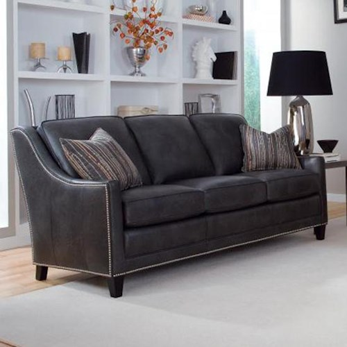 Smith Brothers 201 Style Group Contemporary Sofa with Pullover/Deco Arms and Nail Head Trim