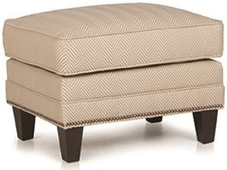 Smith Brothers 201 Style Group Contemporary Ottoman with Nail Head Trim and Wood Tapered Legs