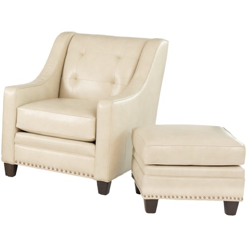 Smith Brothers 203L Transitional Chair and Ottoman Set with Nailhead Trim