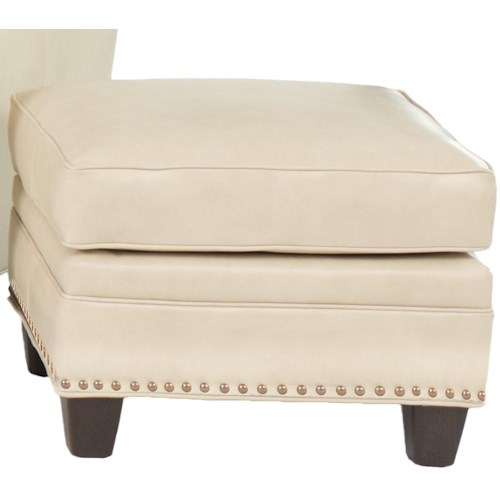 Smith Brothers 203L Transitional Ottoman With Nailhead Trim
