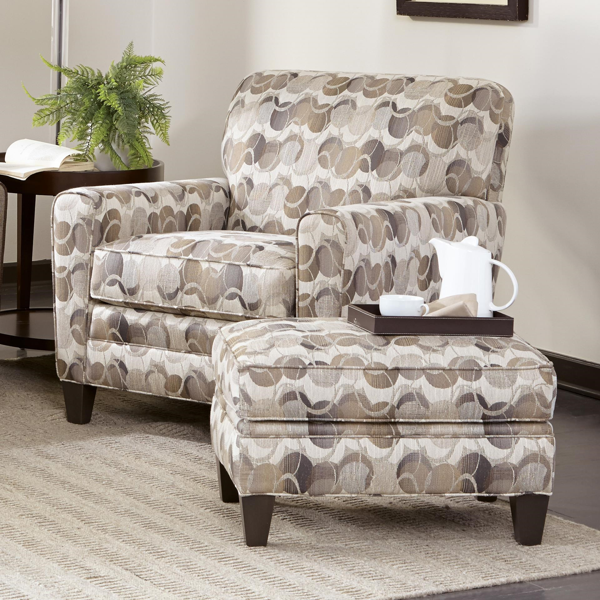 Chair with Tapered Track Arms and Ottoman Set