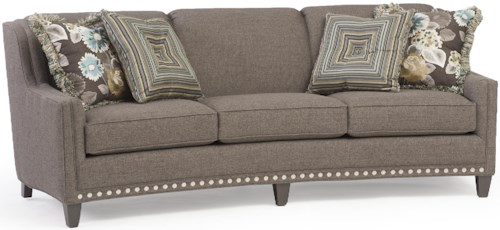 Smith Brothers 227 Slightly Curved Sofa with Sloping Track Arms and Nail Head Trim