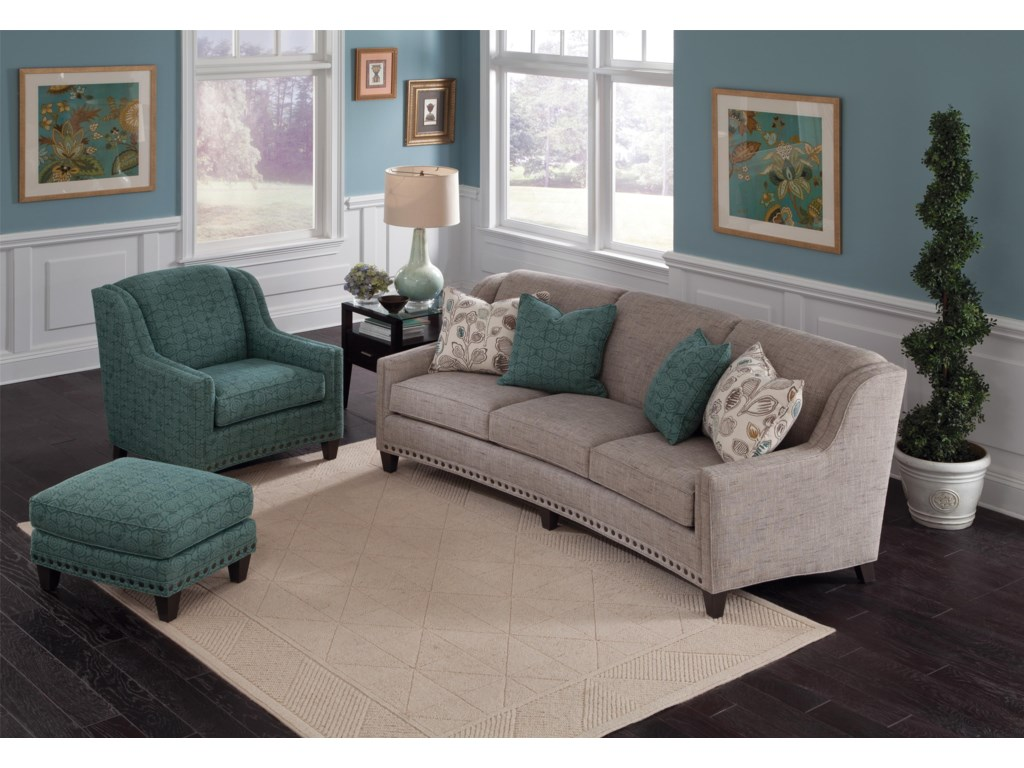 Smith Brothers 227Upholstered Chair and Ottoman Combination