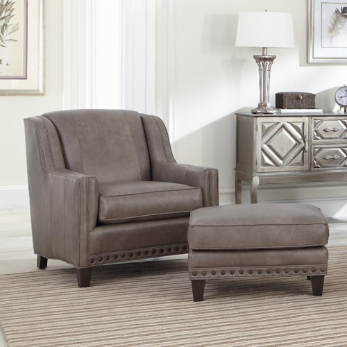 Smith Brothers 227 Upholstered Chair and Ottoman Combination