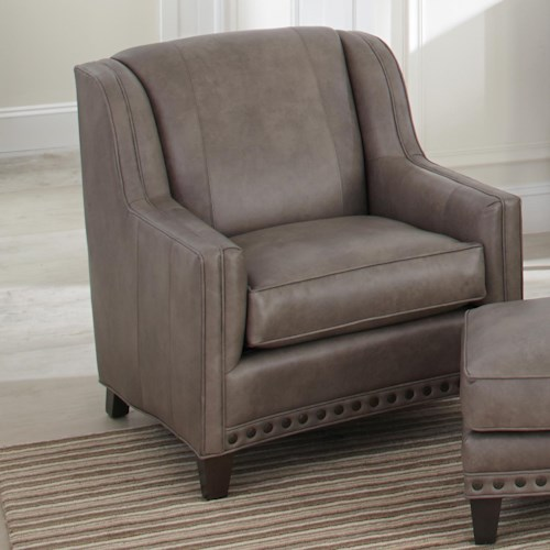 Smith Brothers 227 Upholstered Chair with Sloping Track Arms and Nail Head Trim
