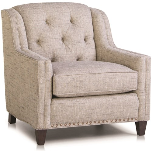 Smith Brothers 228 Traditional Chair with Tufted Back and Nailhead Trim