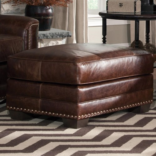 Smith Brothers 229 Contemporary Ottoman with Block Feet