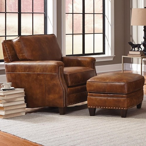 Smith Brothers 231 Traditional Chair and Ottoman with Tapered Wood Feet