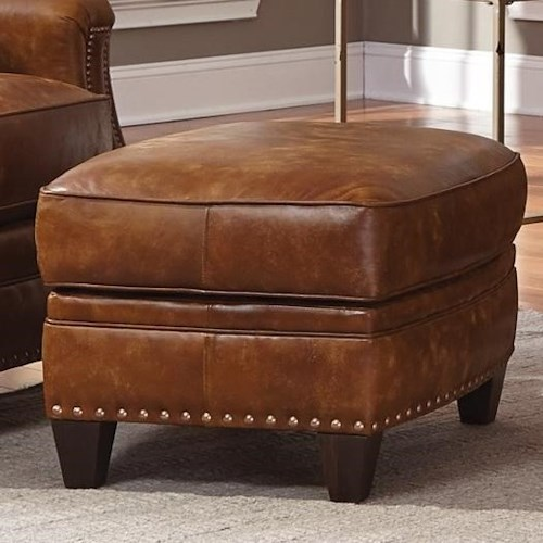 Smith Brothers 231 Traditional Ottoman with Nailhead Trim