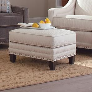 Smith Brothers 233 Traditional Ottoman with Nailhead Trim