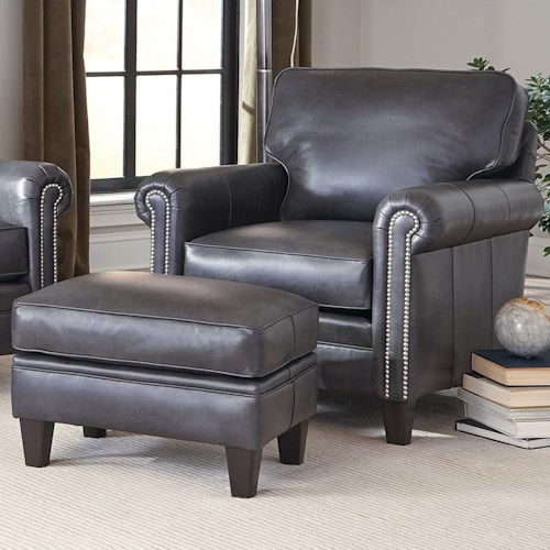 Smith Brothers 234 Traditional Chair and Ottoman with Tapered Legs