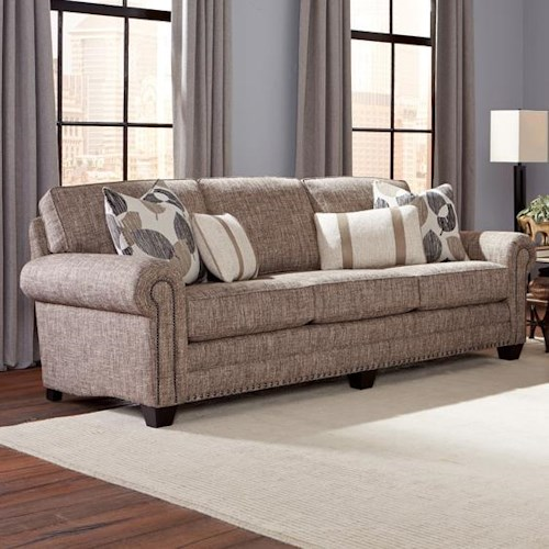 Smith Brothers 235 Traditional Sofa with Nailhead Trim and Rolled Arms