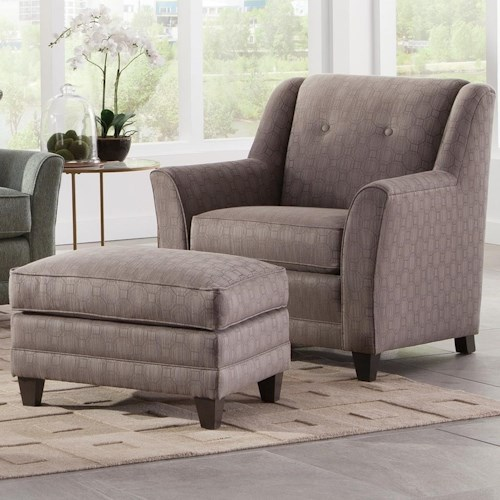Smith Brothers 236 Casual Chair and Ottoman with Flared Arms