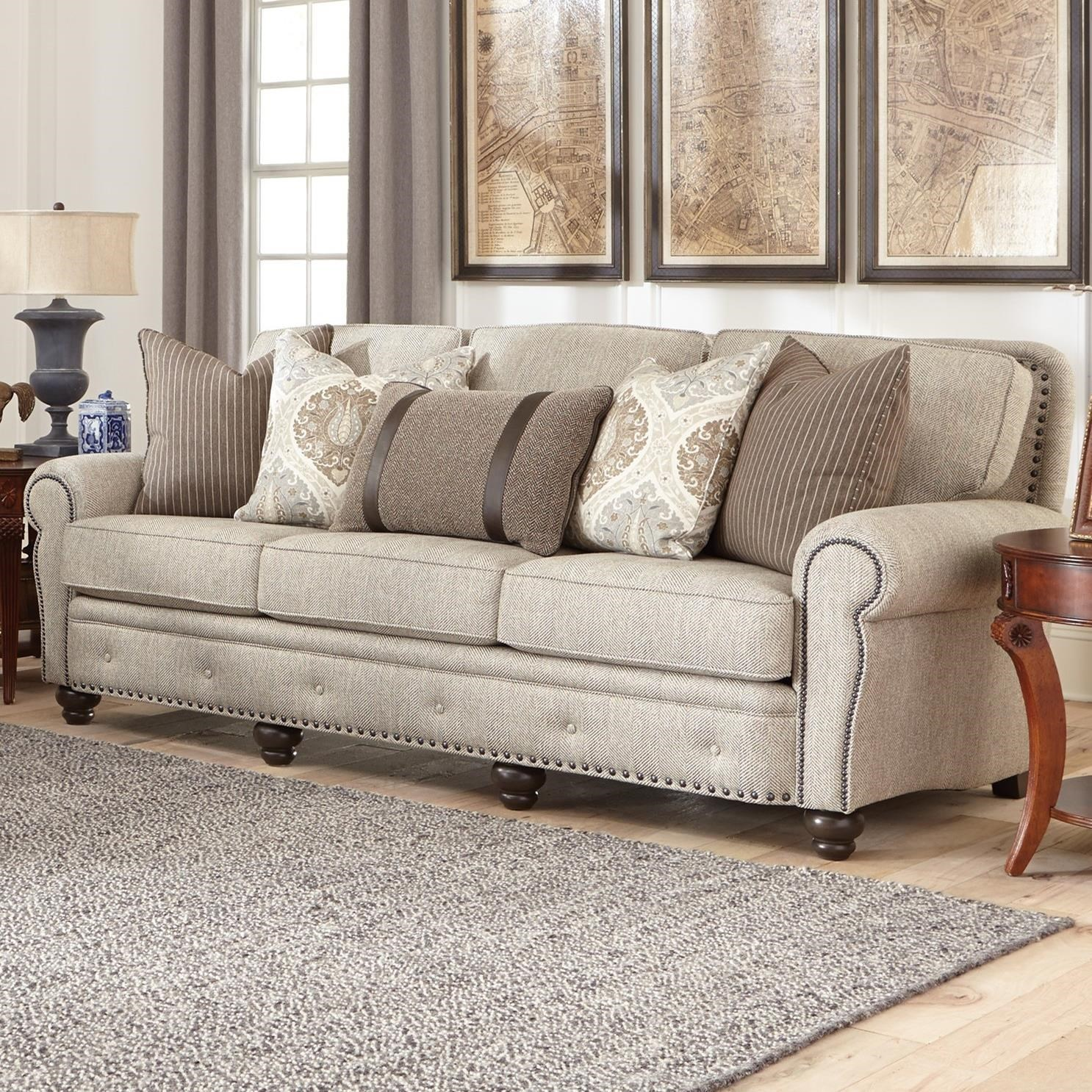 smith brothers 237 traditional large sofa with nailhead trim - Large Sofas