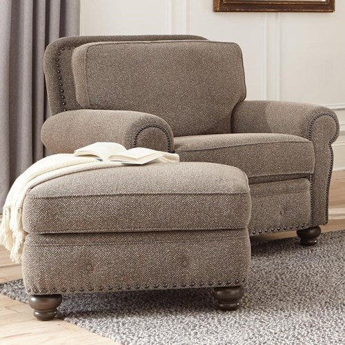 Smith Brothers 237 Traditional Chair and Ottoman with Tufted Base Detailing