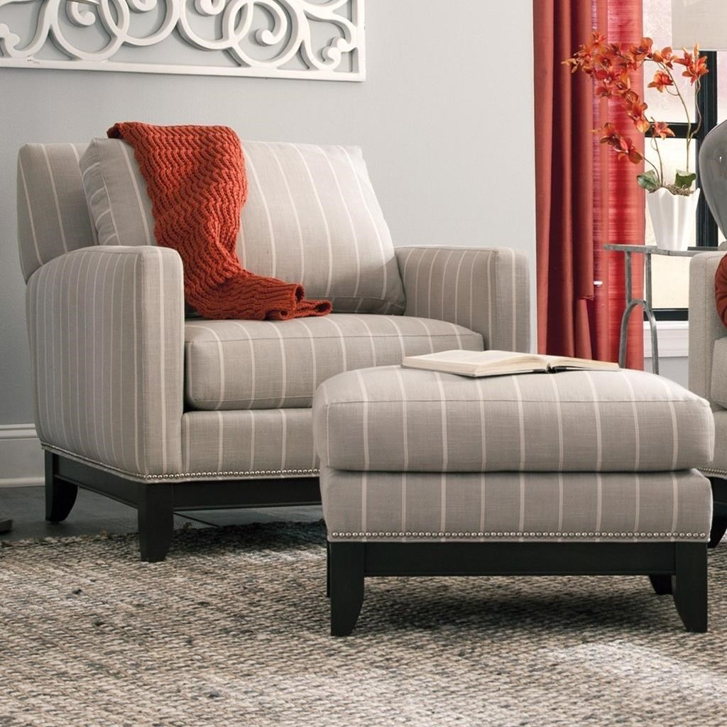 Transitional Chair and Ottoman with Nailhead Base Trim