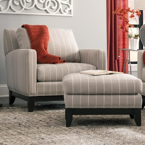 Smith Brothers 238 Transitional Chair and Ottoman with Nailhead Base Trim