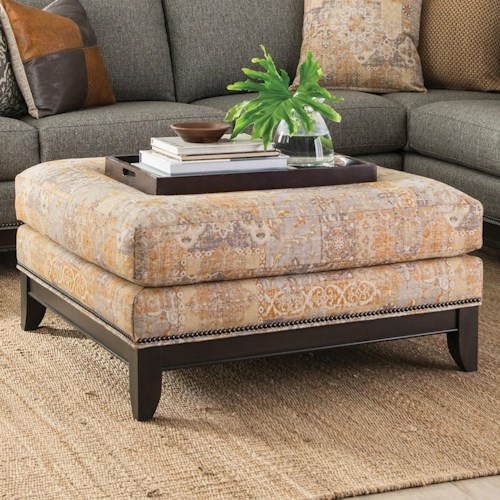 Smith Brothers 238 Transitional Cocktail Ottoman with Nailhead Trim