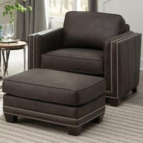 Smith Brothers 240 Transitional Chair and Ottoman with Nailhead Trim