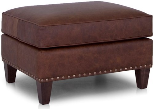 Smith Brothers 246 Transitional Ottoman with Nailhead Trim