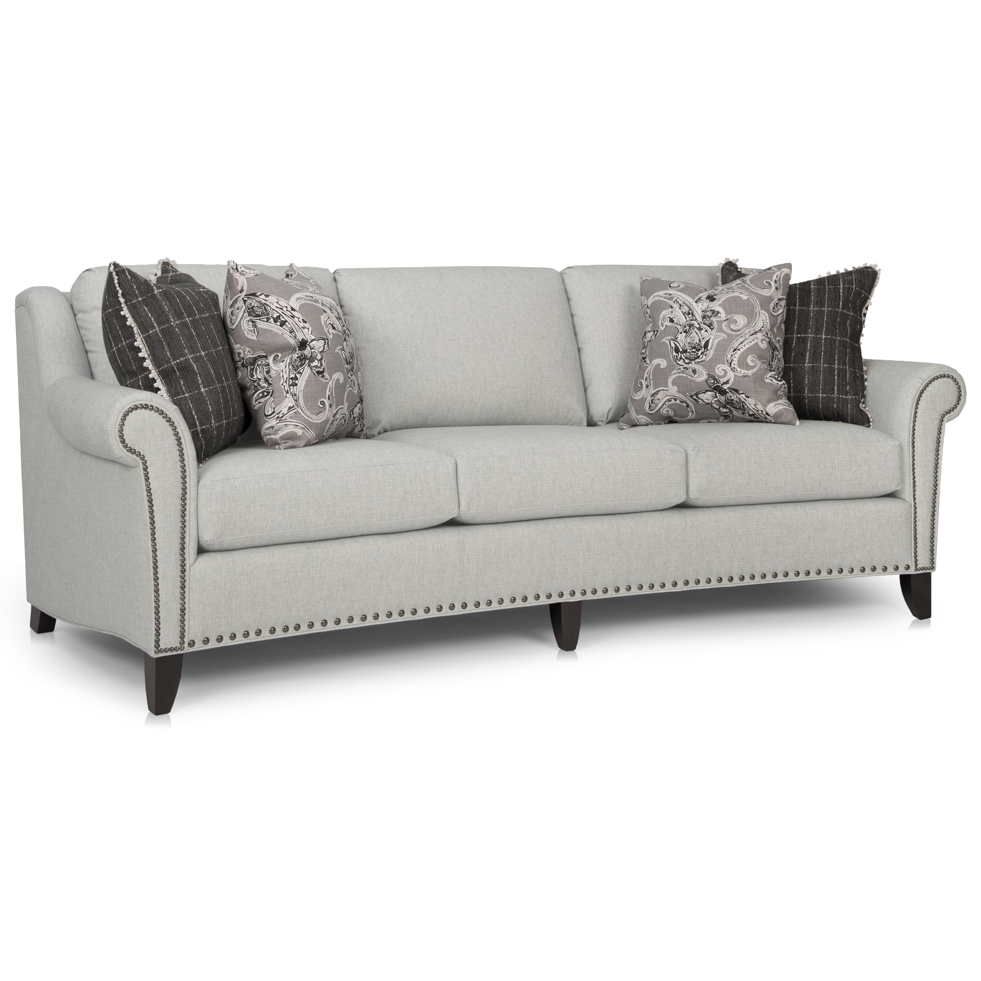 Smith Brothers 249 Transitional Large Sofa With Nailhead