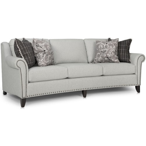 Smith Brothers 249 Transitional Large Sofa with Nailhead Trim