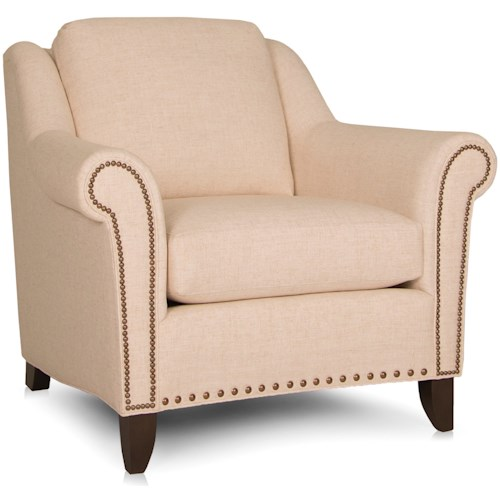 Smith Brothers 249 Transitional Stationary Chair with Nailhead Trim