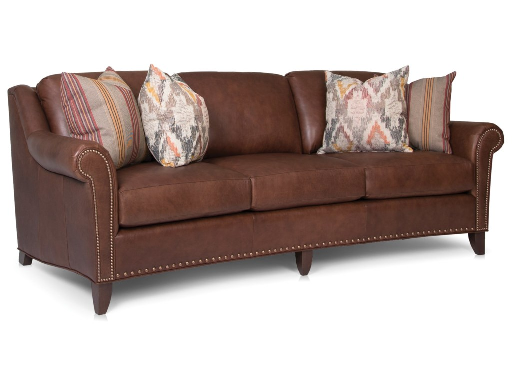 Smith Brothers 249 Transitional Large Sofa with Nailhead ...