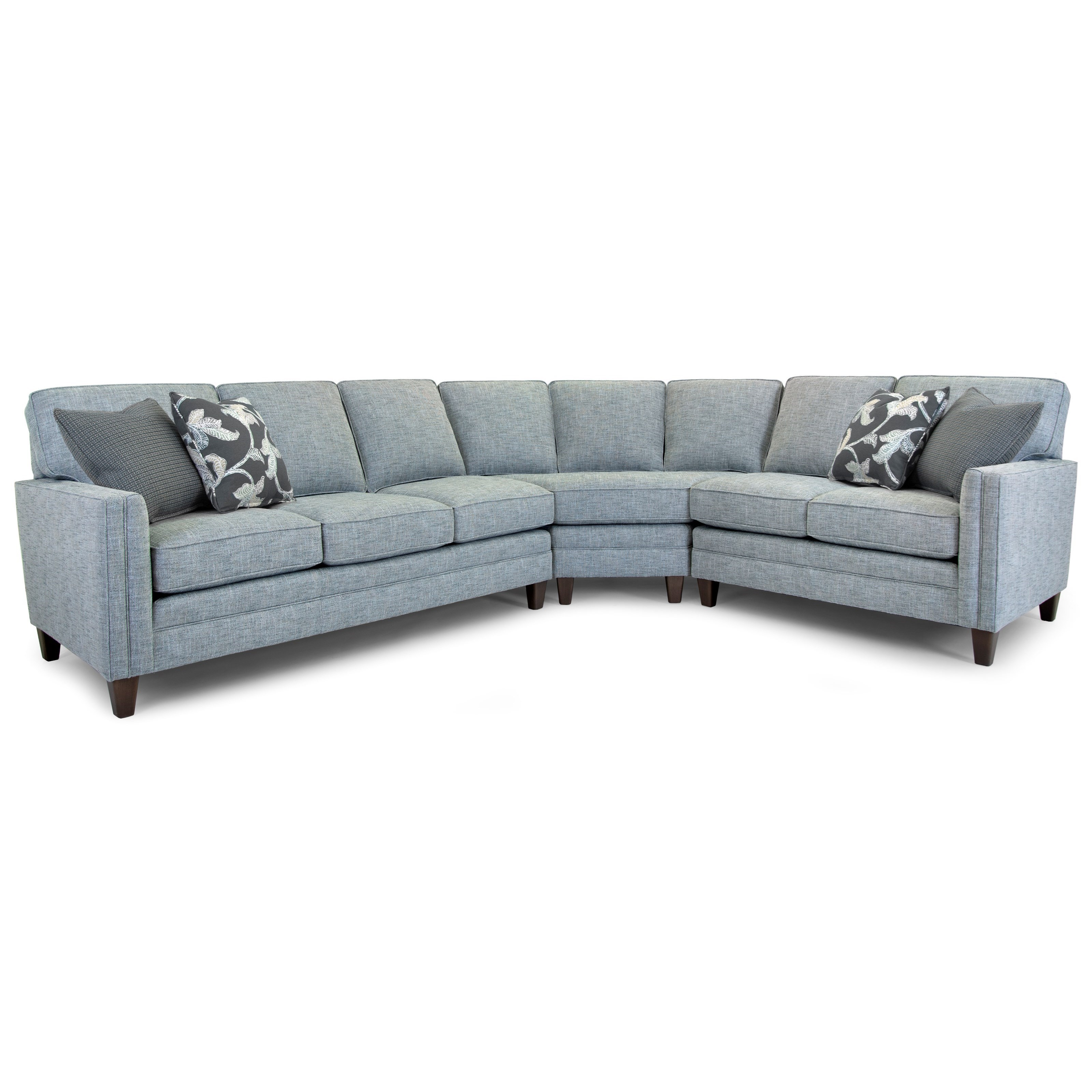 Smith Brothers Build Your Own 3000 Series Customizable 3 Piece Sectional With Banded Arms Tapered Legs And Semi Attached Back Wayside Furniture Sectional Sofas