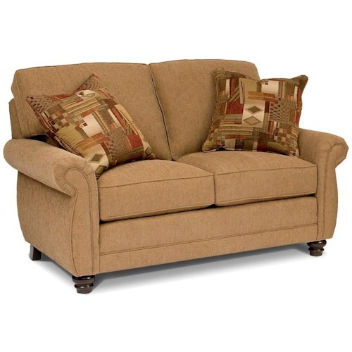 Smith Brothers 302 Traditional Loveseat with Turned Feet