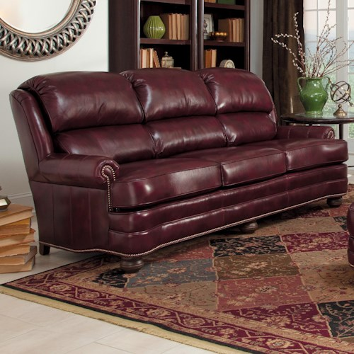 Smith Brothers 311 Upholstered Leather Stationary Sofa