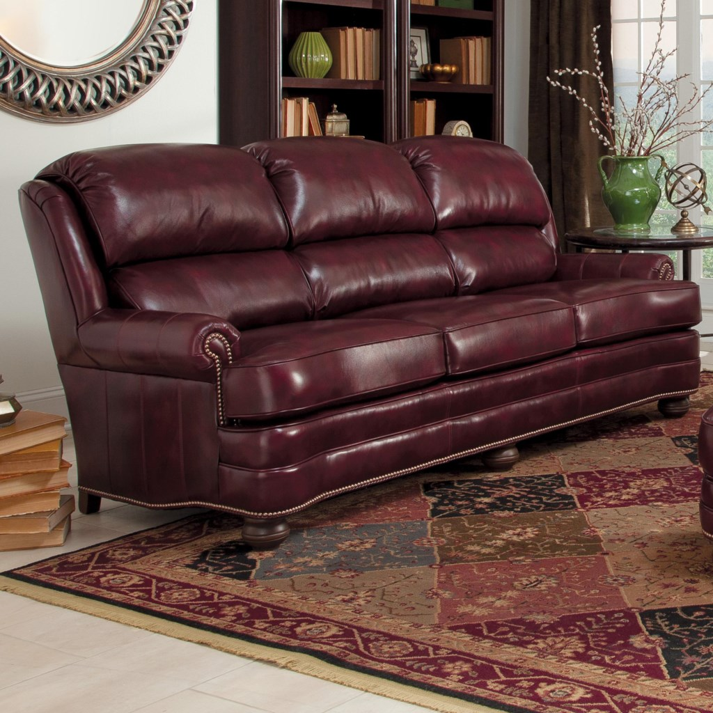 Smith brothers 311 311l10 upholstered leather stationary sofa dunk bright furniture sofas