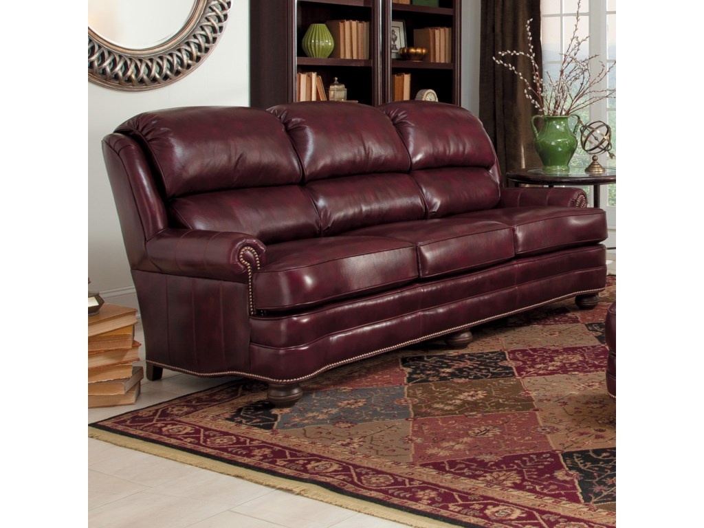 311 Upholstered Leather Stationary Sofa By Smith Brothers