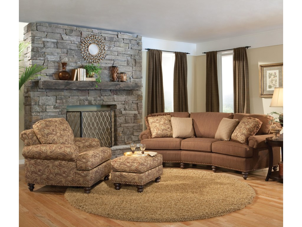 Shown in Room Setting with Sofa & Ottoman