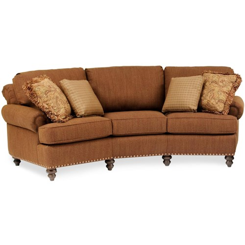 Smith Brothers 324 Curved Conversational Sofa with Nailhead Trim